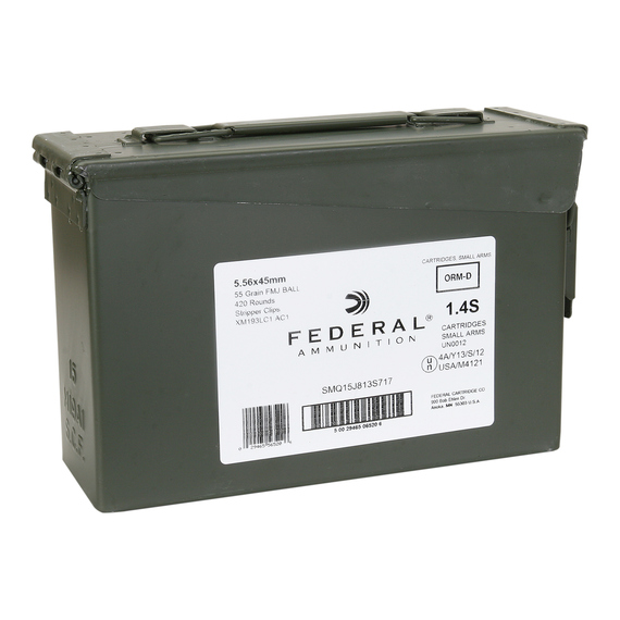 5.56 NATO XM193 420 Round Ammo Can