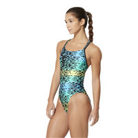 Speedo Women's Modern Matrix Volt Back One-Piece Swimsuit