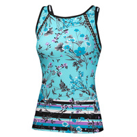 Free Country Women's Floral Tie Back Tankini Top