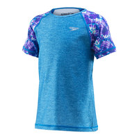 Speedo Girls' Short-Sleeve Print Rash Guard