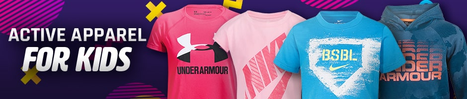 Active Apparel for kids - 4 different type of youth shirts with colorful designs overlaying a purple pink background