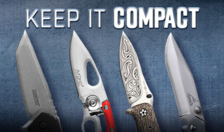 Shop Knives - 4 knife blades against a blue background with a text Keep it Compact