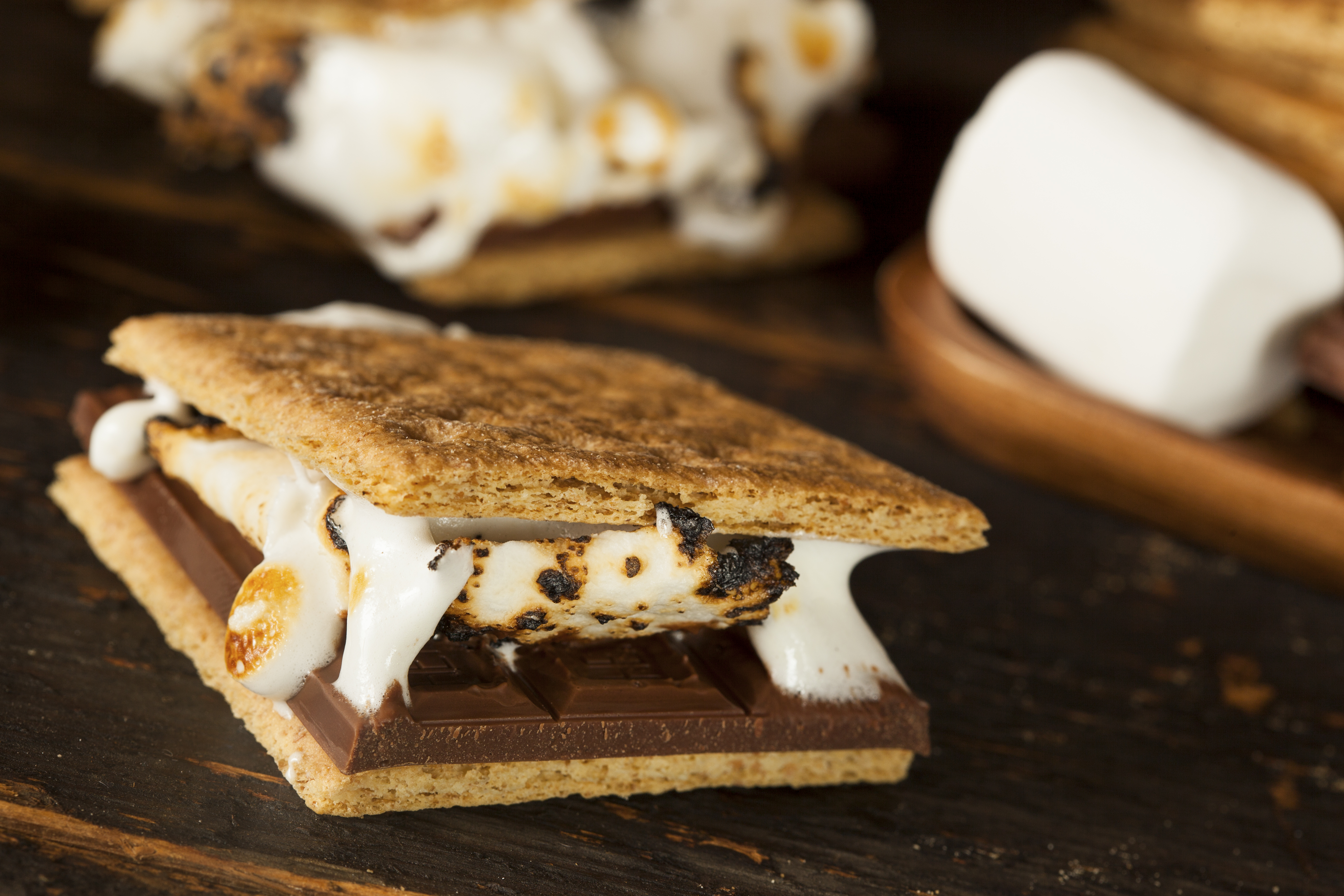 a campfire smore on a wood table